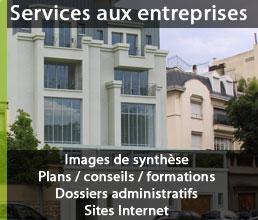Services aux entreprises : images de synthèse, formations, plans, conseils, sites internet